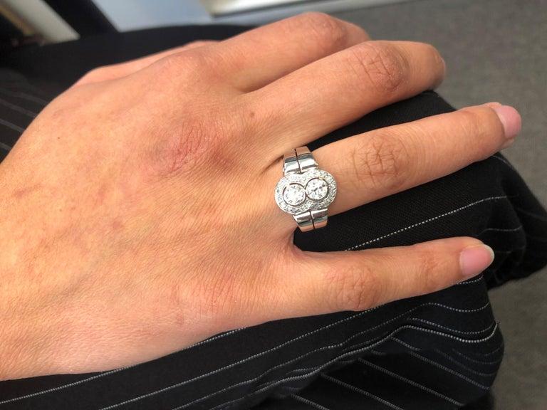 Toi et Moi Old European Cut Diamond Ring in 18 Karat White Gold and Platinum For Sale 6
