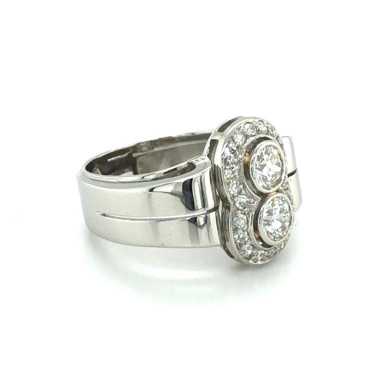 Women's or Men's Toi et Moi Old European Cut Diamond Ring in 18 Karat White Gold and Platinum For Sale