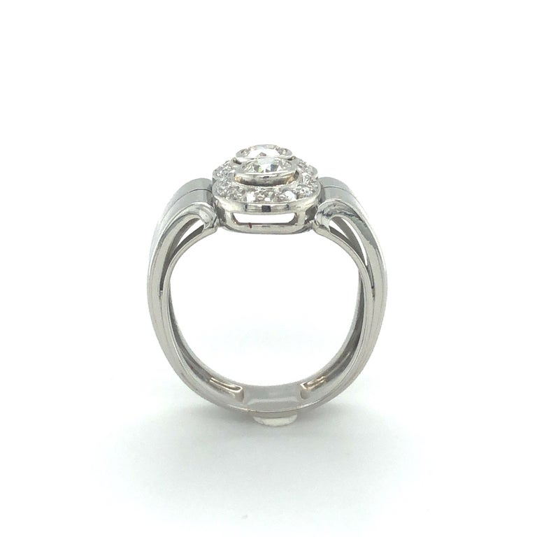 Toi et Moi Old European Cut Diamond Ring in 18 Karat White Gold and Platinum For Sale 1