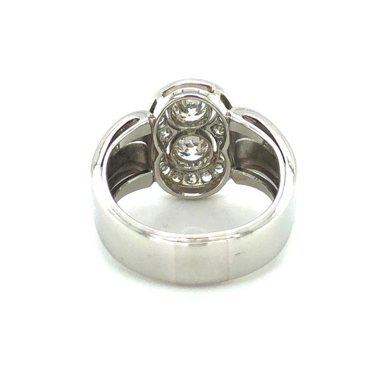 Toi et Moi Old European Cut Diamond Ring in 18 Karat White Gold and Platinum For Sale 4