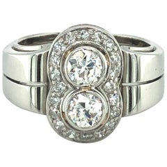 Toi et Moi Old European Cut Diamond Ring in 18 Karat White Gold and Platinum