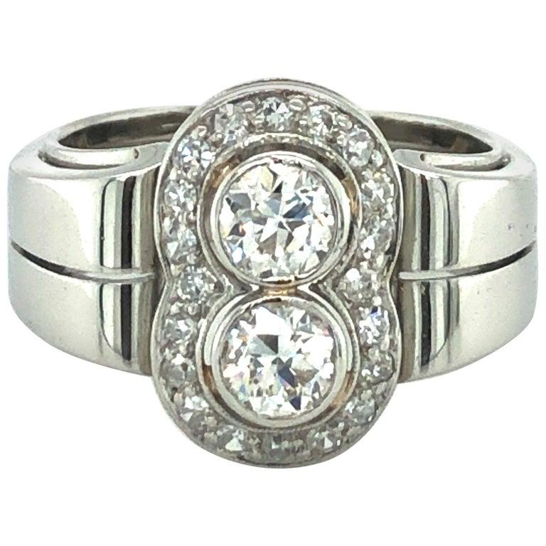 Toi et Moi Old European Cut Diamond Ring in 18 Karat White Gold and Platinum For Sale