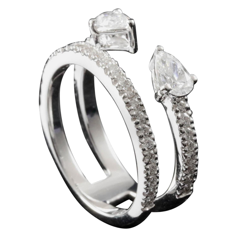 Toi et Moi Pear Cut Diamond Fashion Ring in 18 Karat Gold