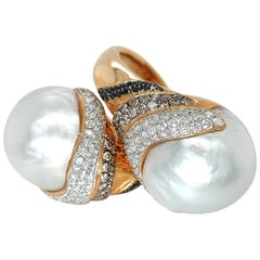 Toi & Moi Huge Australian South Sea Pearl Ring with White, Black, Brown Diamonds