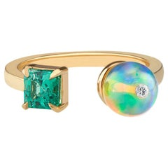 Toi Moi Opal Bead Emerald and Diamond Ring