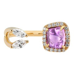 Toi Moi Purple Pink Sapphire and Marquise Diamond Ring