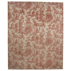 Toile Chinoiserie Hand Knotted Carpet in All Silk in white and red