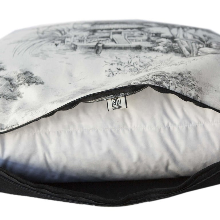 This 26 x 22 Toile Pagoda pillow is backed with 100% imported English soft, Merino wool. Very well made and brand new. Asian Pagoda print is black and white linen, made in our workshop with a zipper enclosure and insert included. Please dry clean
