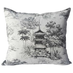 Toile Pagoda Black and White Pillow