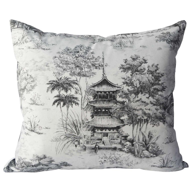 Toile Pagoda Black and White Pillow For Sale