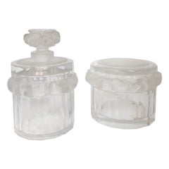 Toilet Garniture Set of Lalique Clear and Frosted Glass Sparrow, circa 1970