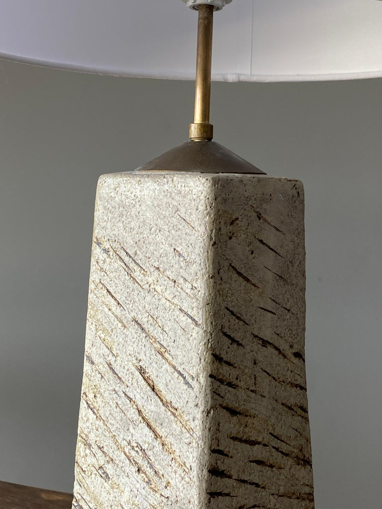 Mid-Century Modern Toini Muona, Table Lamp, Hand-Painted Stoneware, Finland, 1950s For Sale