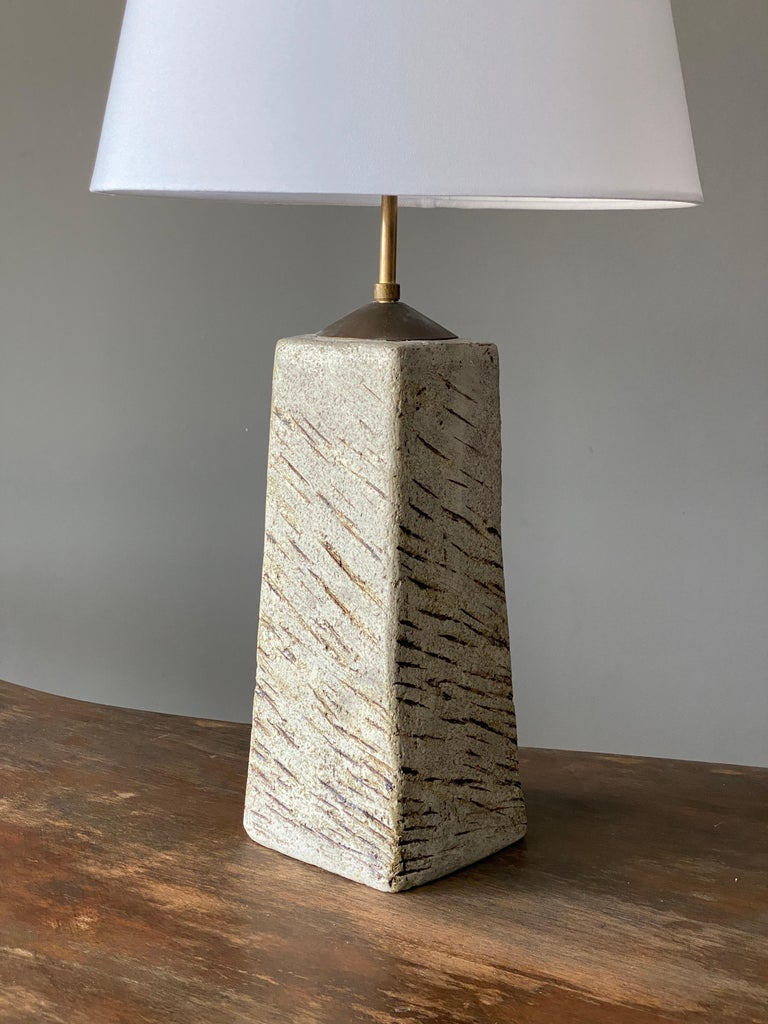 Finnish Toini Muona, Table Lamp, Hand-Painted Stoneware, Finland, 1950s For Sale