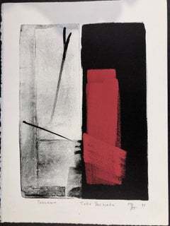 Tableau, Japanese, limited edition lithograph, black, white, red, signed, number
