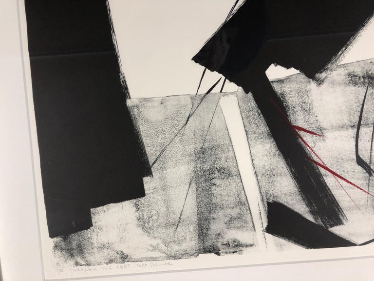 Through The Ages  by Toko Shinoda, black and white signed lithograph calligraphy For Sale 1