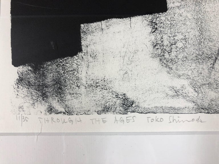 Through The Ages  by Toko Shinoda, black and white signed lithograph calligraphy For Sale 3