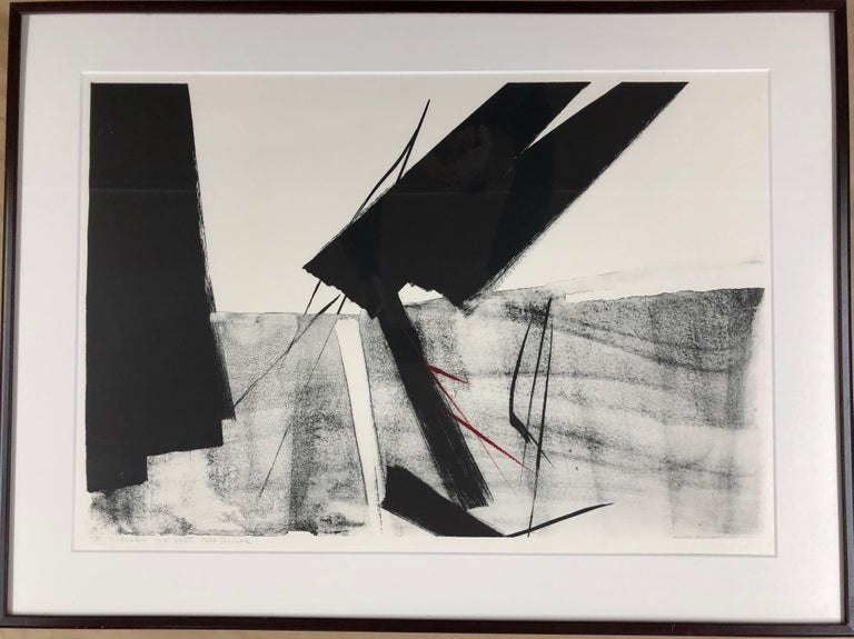 Through The Ages  by Toko Shinoda, black and white signed lithograph calligraphy 11/35  obituary published by CNN March 2021  Celebrated artist Toko Shinoda, who combined Abstract Expressionism with the traditions of Japanese calligraphy, has died