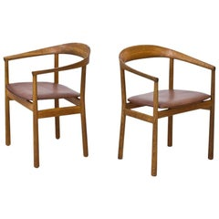 Tokyo Chairs in Oak and Leather by Carl-Axel Acking for NK, Sweden