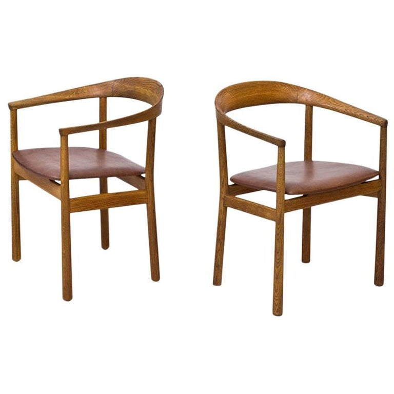 """Tokyo"" Chairs in Oak and Leather by Carl-Axel Acking for Nordiska Kompaniet For Sale"