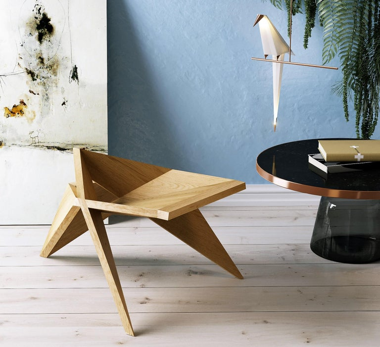 Tokyo Lounge Chair, Contemporary Handcrafted Wooden Lounge Chair In New Condition For Sale In New York, NY