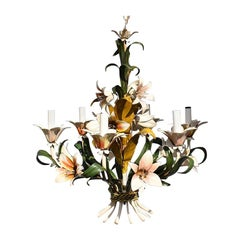 Tole 6-Light Floral Hard Wired Chandelier in the style of Maison Baguès