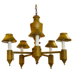 Tole Chandelier with Original Mustard and Hand Stenciled Paint, 20th Century