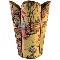 Tole Decoupage Chinoiserie Waste Can