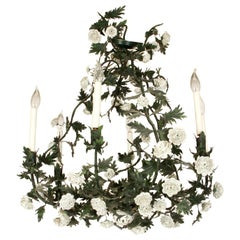 Tole Floral and Leaf Chandelier