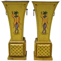 Tole Metal Regency Empire Italian Style Yellow Painted Planter Vase, a Pair