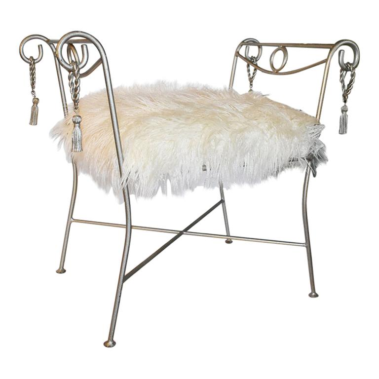 Trompe L'Oeil Louis XVI Cerule Style Iron Rope and Tassel Bench, Italy