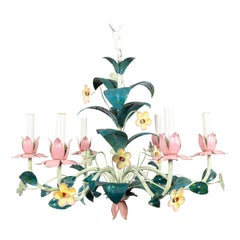 Tole Painted Italian Floral Chandelier