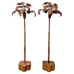 Tole Palm Tree Floor Lights