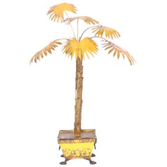 Tole Potted Chinoiserie Decorated Palm Tree