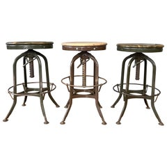 Toledo Industrial Adjustable Height Backless Swivel Stools, Three Available