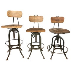 Toledo Industrial Adjustable Height Swivel Stools with Backs, Three Available