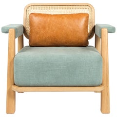 Toledo Low Armchair, Wicker Back and Solid Oak, Contemporary Mexican Design