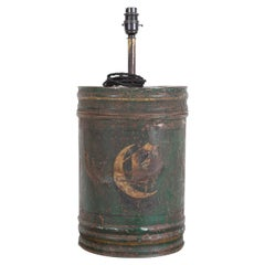 19thC English Toleware Tea Cannister Lamp