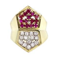 Toliro 18 Karat Ruby and Diamond Wide Modern Ring