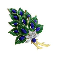 Toliro Diamond Enamel Floral Bouquet Gold Brooch