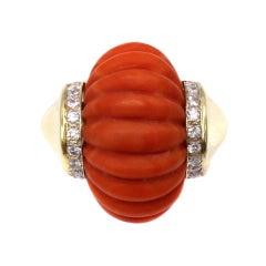 Toliro Mediterranean Coral Diamond 18 Karat Gold Ring