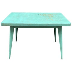 Tolix Metal Table, Blue/Green and Patina