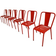 Tolix T4 Metal Set of Six Red Chairs by Designer Xavier Pauchard 1950s