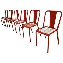 Tolix T4 Red, White Set of Six Chairs by Designer Xavier Pauchard, 1950