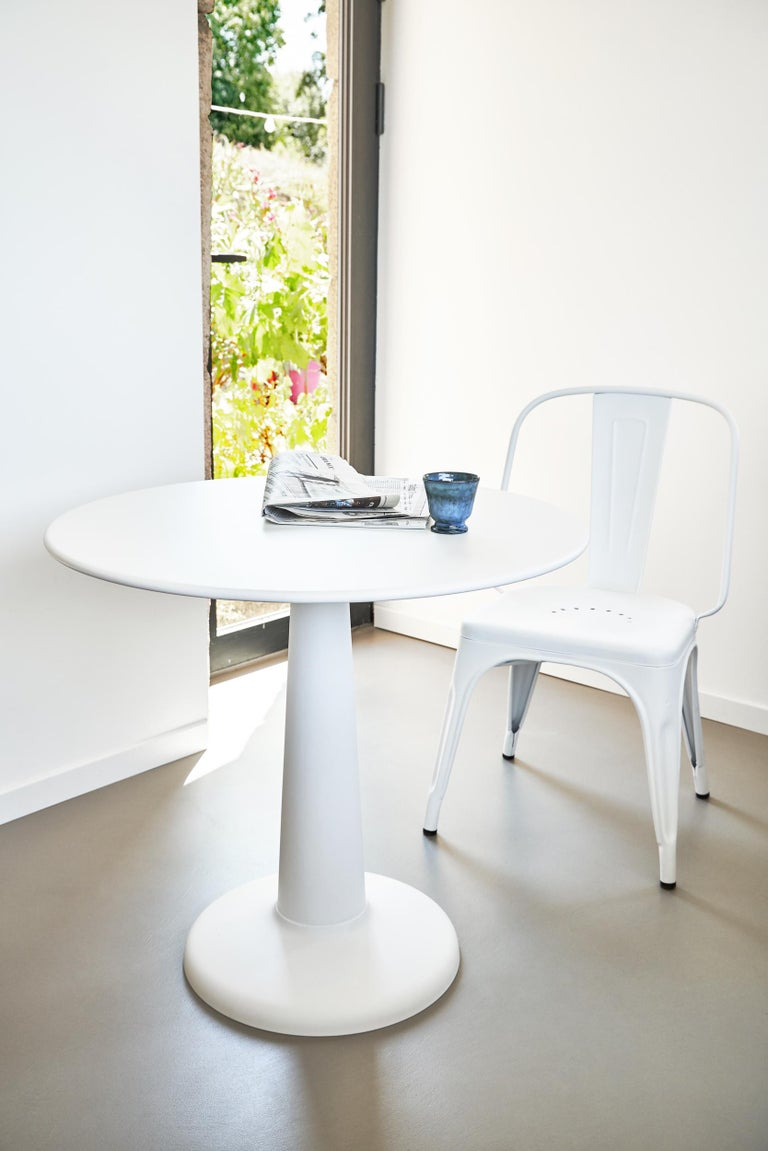 Painted Tolix Table G in Steel with Marble Top by Kilian Schindler For Sale