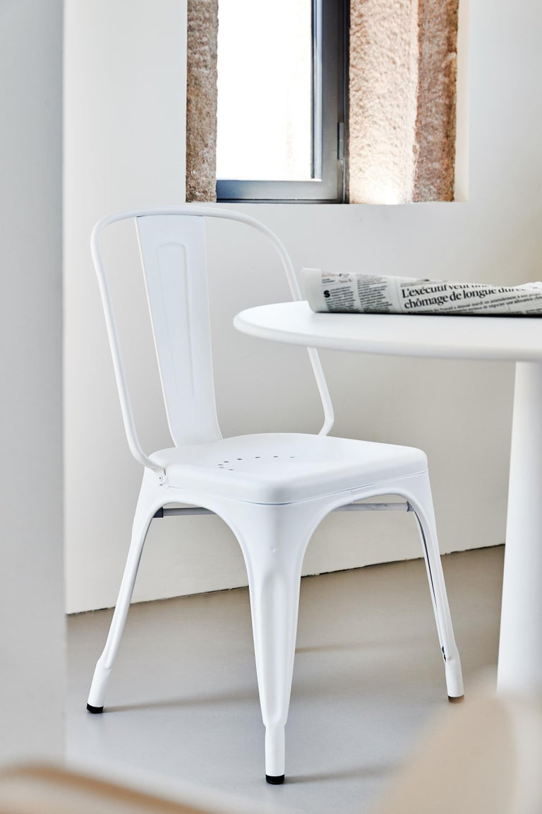 Contemporary Tolix Table G in Steel with Marble Top by Kilian Schindler For Sale
