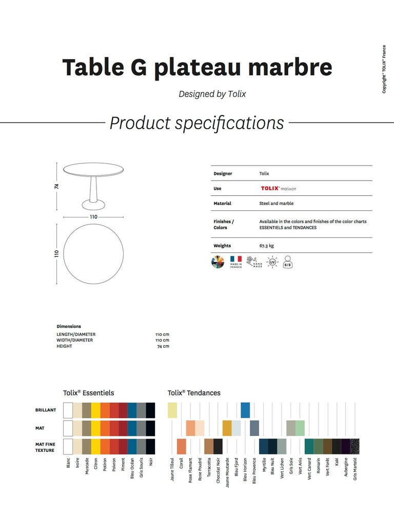 Tolix Table G in Steel with Marble Top by Kilian Schindler For Sale 2