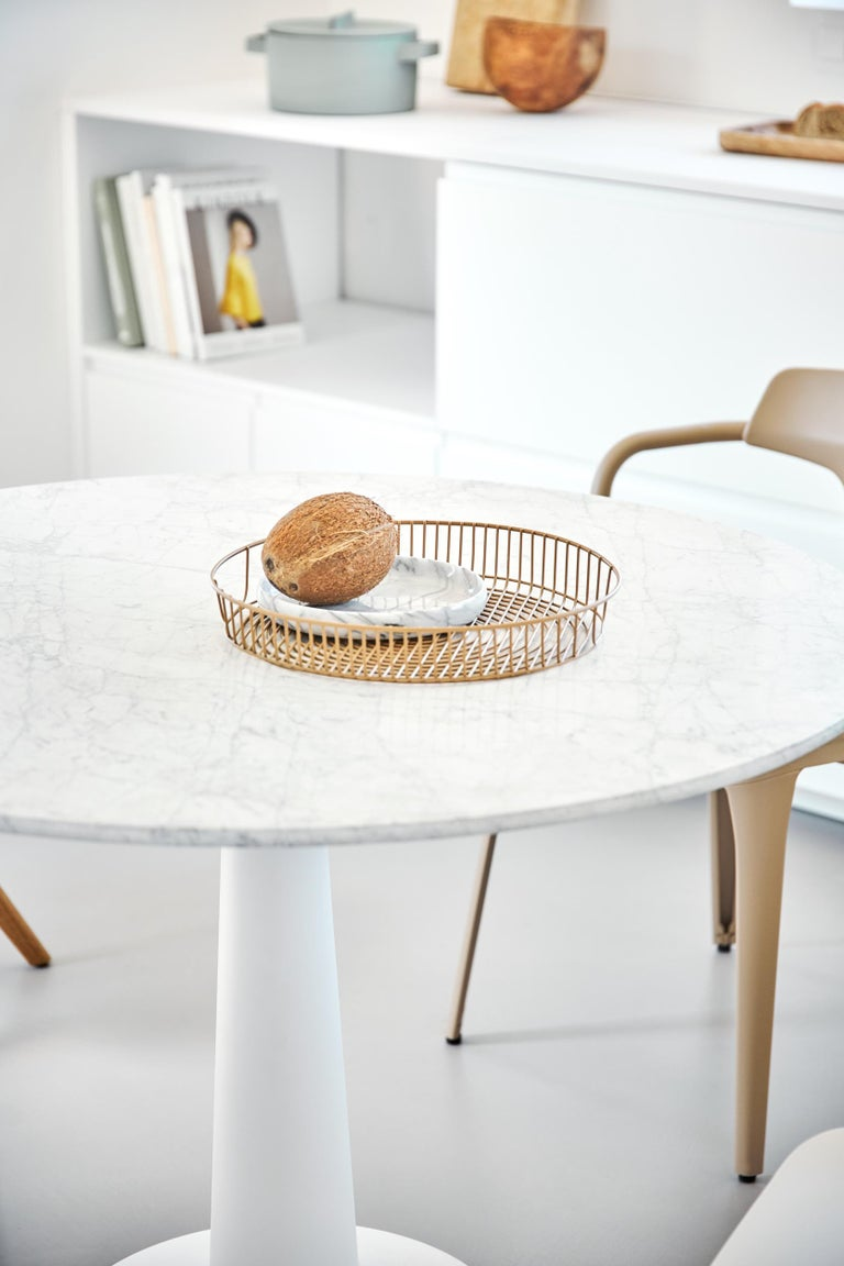 Modern Tolix Table G in Steel with Marble Top by Kilian Schindler, US For Sale