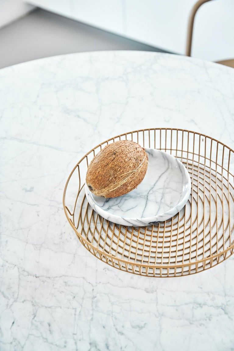 French Tolix Table G in Steel with Marble Top by Kilian Schindler, US For Sale
