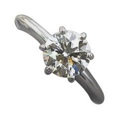 Tolkowsky Diamond Engagement Ring Ideal Cut Round 0.97 Carat 14 Karat White Gold