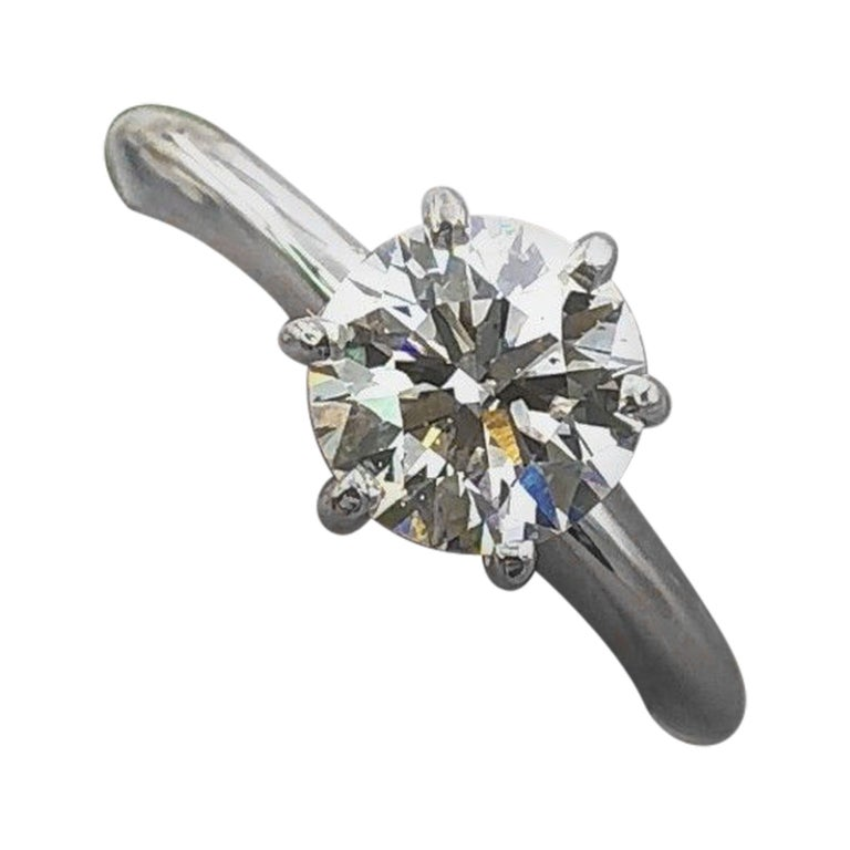 fe19a9781 Tolkowsky Diamond Engagement Ring Ideal Cut Round 0.97 Carat 14 Karat White  Gold For Sale